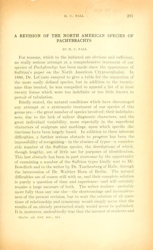 Fall (1915) Trans. Am. Ent. Soc. 41:291-486