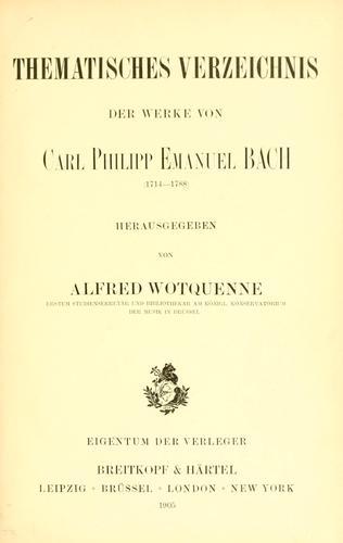 Download Thematisches Verzeichnis der Werke von Carl Philipp Emanuel Bach (1714-1788)