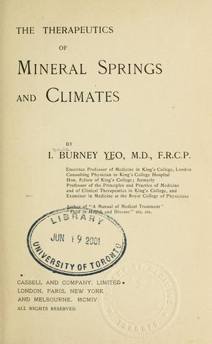 The therapeutics of mineral springs and climates