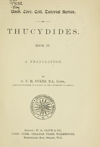 Thucydides.  Book IV