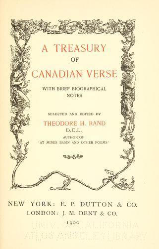A treasury of Canadian verse