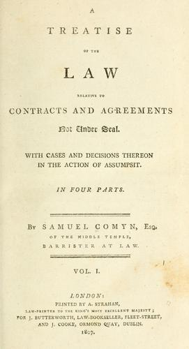 Download A treatise of the law relative to contracts and agreements not under seal.