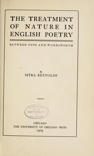 The treatment of nature in English poetry between Pope and Wordsworth
