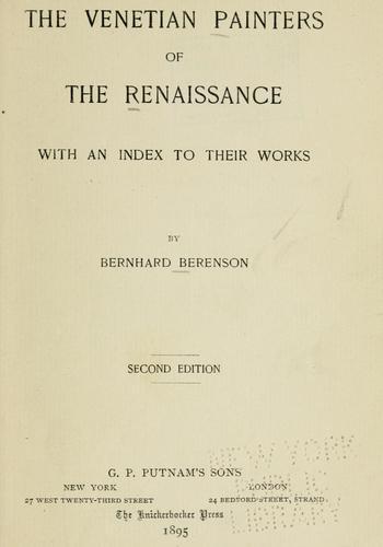 Download The Venetian painters of the renaissance