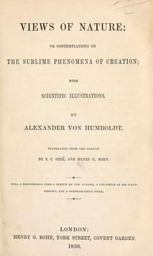 Download Views of nature, or, Contemplations on the sublime phenomena of creation