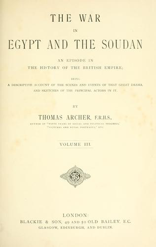 The war in Egypt and the Soudan