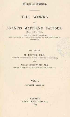 Download The works of Francis Maitland Balfour …