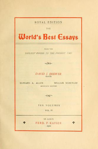 Download The world's best essays, from the earliest period to the present time