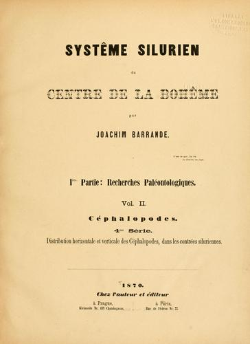 Systême silurien du centre de la Bohême.