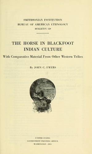 The horse in Blackfoot Indian culture