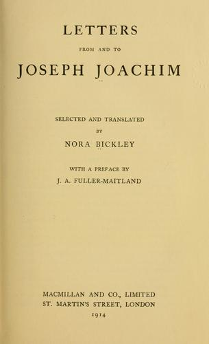 Letters from and to Joseph Joachim.