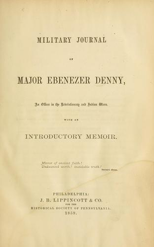 Download Military journal of Major Ebenezer Denny