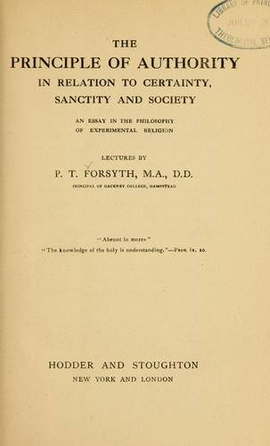 Download The principle of authority in relation to certainty, sanctity and   society