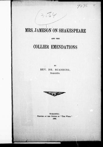 Mrs. Jameson on Shakespeare and the Collier emendations by Henry Scadding