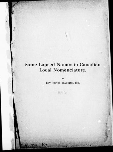 Download Some lapsed names in Canadian local nomenclature