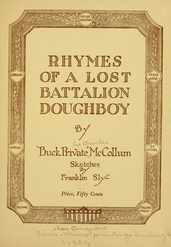 Download Rhymes of a lost battalion doughboy