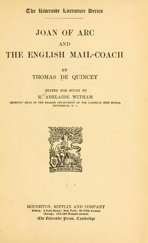 Joan of Arc and The English mail-coach