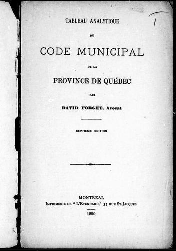 Download Tableau analytique du code municipal de la province de Québec
