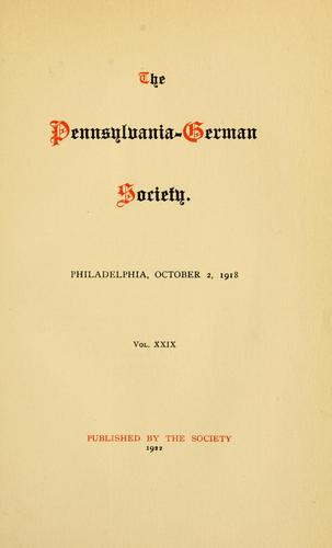 Social conditions among the Pennsylvania Germans in the eighteenth century