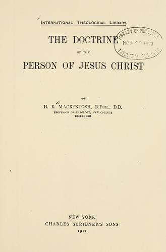 Download The doctrine of the person of Jesus Christ.