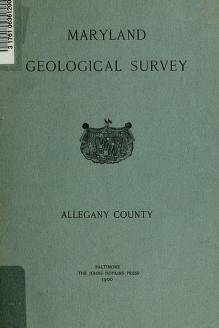 Allegany County by Maryland. Geological Survey