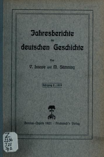 Jahresberichte der deutschen Geschichte by Loewe, Victor