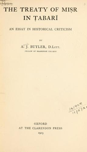 The treaty of Misr in Tabari by Alfred J. Butler