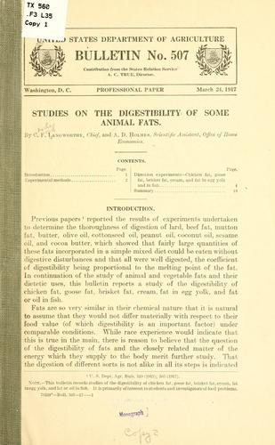 Studies on the digestibility of some animal fats by Charles Ford Langworthy