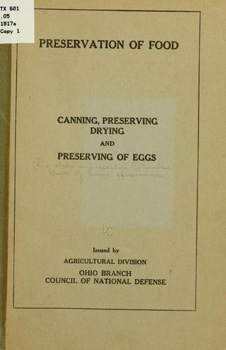 Preservation of food by Ohio. State university, Columbus. Dept. of home economics
