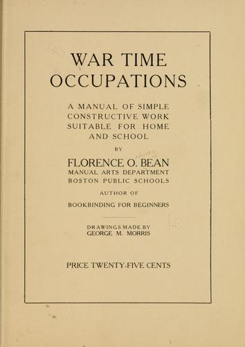 War time occupations by Florence Ordway Bean
