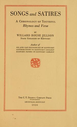 Songs and satires by Willard Rouse Jillson
