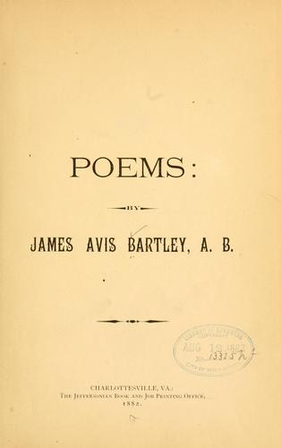 Poems by James Avis Bartley
