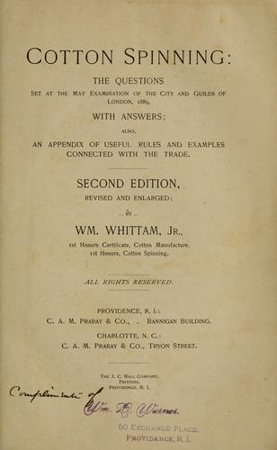 Cotton spinning by Whittam, William Jr.