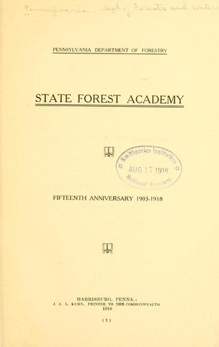 State forest academy by Pennsylvania. Dept. of forests and waters