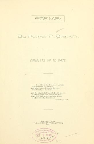 Poems by Homer Potter Branch