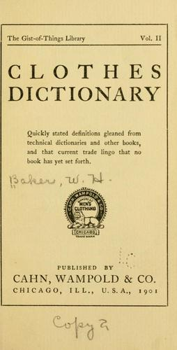 Clothes dictionary by William Henry Baker