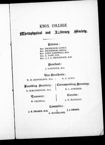 Inaugural address delivered before Knox college Metaphysical and Literary Society by John Scrimger